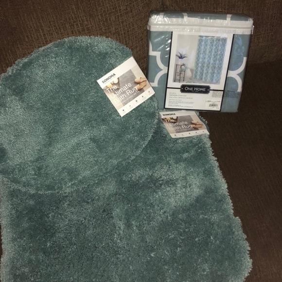 Sonoma Other Bath Rugs Matching Shower Curtain New Poshmark